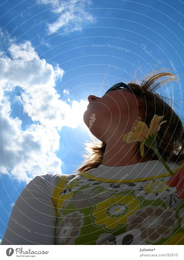 nasal cloud toucher Clouds Fresh Flower Woman White Lighting Summer Joy Sky Blue Wind Colour Looking
