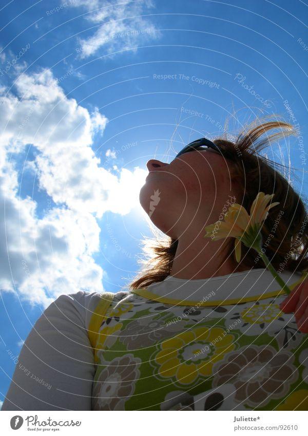 Woman Sky White Flower Blue Summer Joy Clouds Colour Lighting Wind Fresh