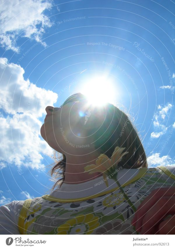 Woman Beautiful Sky Sun Flower Clouds Colour Lamp Nose Breach