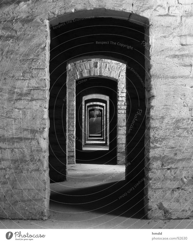 down this aisle, please! Passage Tunnel Right ahead Entrance Behind one another Hallway Fear Panic Black & white photo Contrast door to door Row
