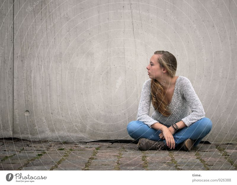 Human being Youth (Young adults) City Beautiful Young woman Calm Wall (building) Feminine Lanes & trails Wall (barrier) Blonde Sit Wait Observe Curiosity Serene