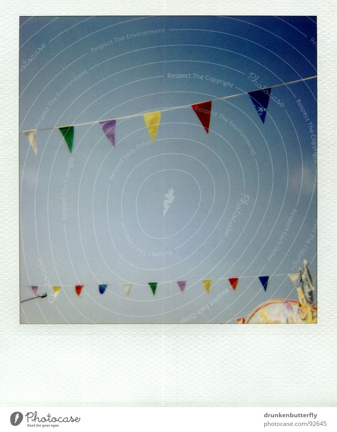 Sky Green Blue Summer Clouds Yellow Playing Rope Flag Roof Polaroid Fairs & Carnivals Sewing thread