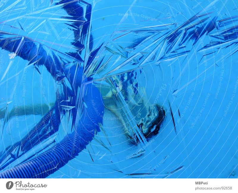 Blue Water Winter Loneliness Calm Cold Garden Ice Closed Empty Corner Cool (slang) Cleaning Swimming pool Derelict Frozen
