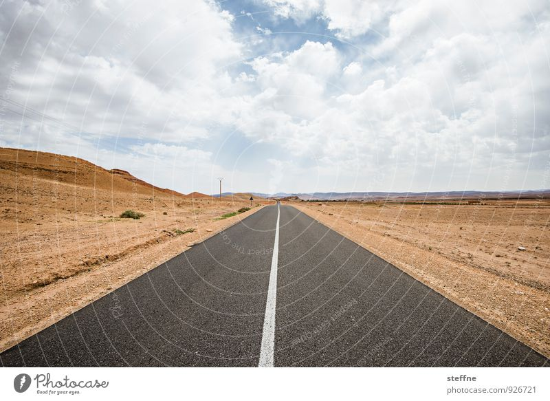 Desert Road | High Atlas Sky Clouds Beautiful weather Mountain Street Hot Loneliness Stony Infinity Right ahead Forward Exterior shot Copy Space bottom Day