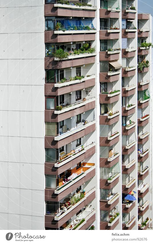 Vacation & Travel House (Residential Structure) Gray Flat (apartment) Poverty High-rise Facade Gloomy Vantage point Idyll Balcony Sunshade Boredom Narrow