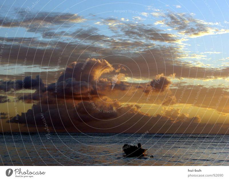 Evening at the beach Beach Sunset Sunrise Clouds Watercraft Dark Night Bright Light Lighting Horizon Ocean Lake Loneliness Fairy tale Doomed Fisherman