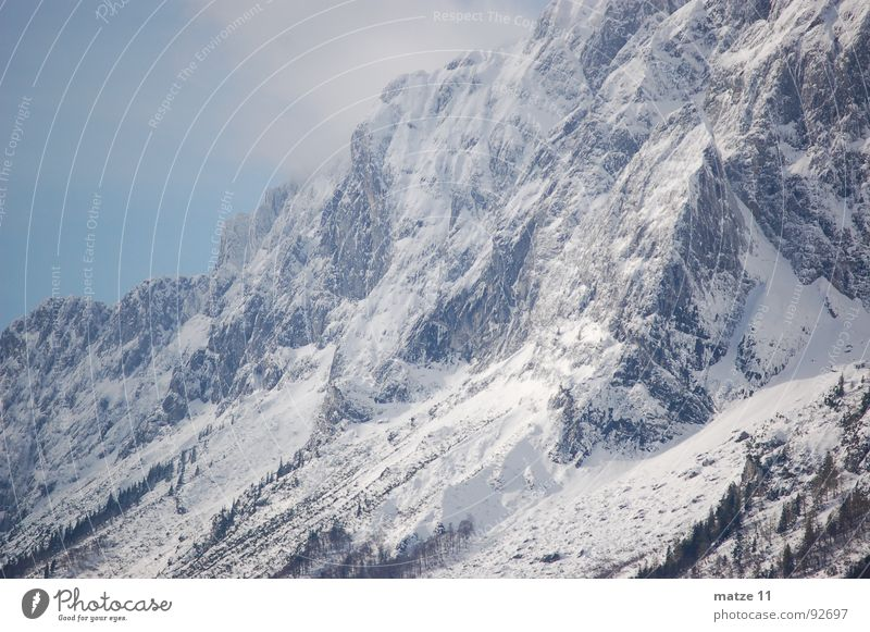 Winter Cold Snow Mountain Wind Rock Steep Mount Grimming