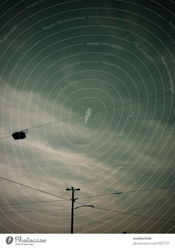 Sky Blue Clouds Autumn Moody Lamp Line Dangerous Cable Lantern Gale Storm Connection Passion Aspire