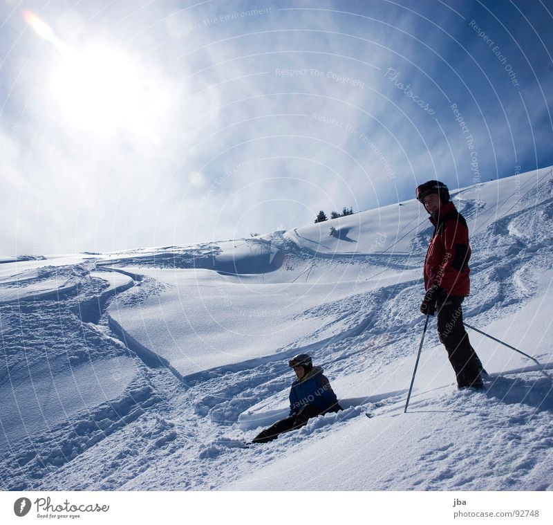 savour Ski tour Skiing Powder snow Far-off places Beautiful Fresh Saanenland Tourism Sunspot Man Woman Tracks Driving To enjoy Stand Winter sports Tall Above