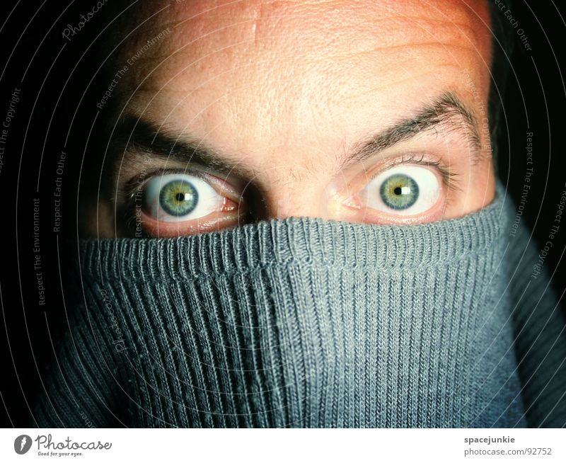 look into my eyes Man Crazy Whimsical Humor Sweater Deep Intensive Hypnotic Hypnotizing Emotions Joy Eyes Looking Mask haunting