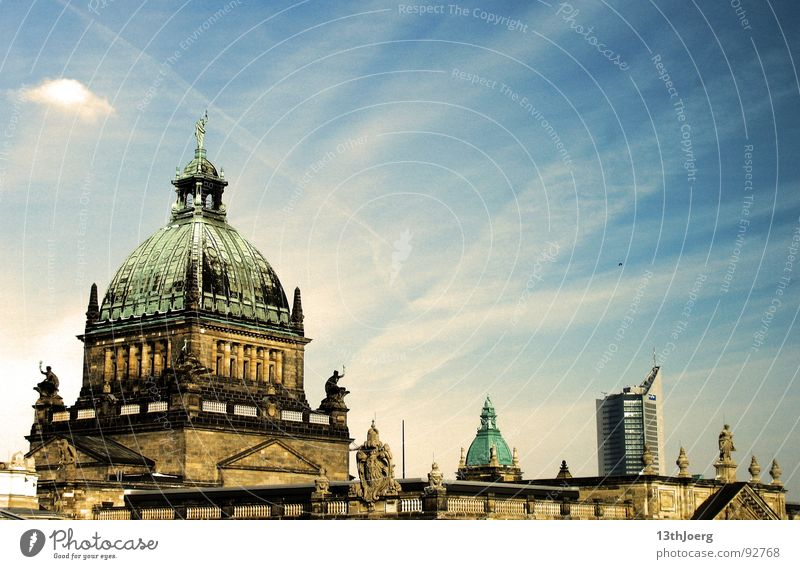 legal perspective Leipzig Air High-rise Saxony Domed roof Historicism Germany Bird Town Upswing Statue Clouds Landmark Monument Sky Skyline Blue imperial court