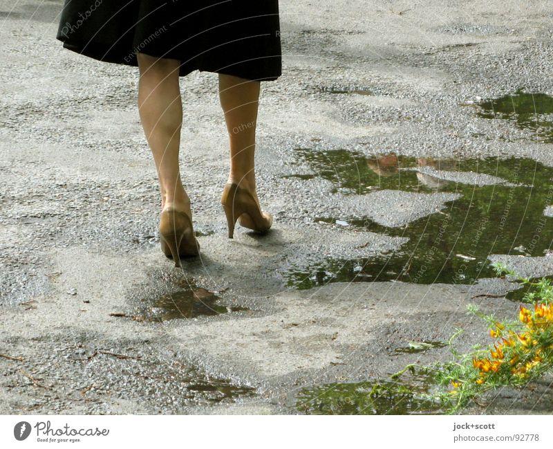 Human being Woman Flower Eroticism Adults Street Spring Senior citizen Lanes & trails Legs Lifestyle Elegant 45 - 60 years Walking Retro Dress