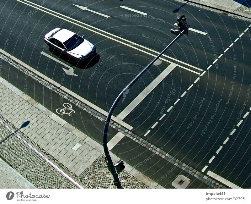 straight ahead Cycle path Traffic light Black White Line Driving Abstract Pedestrian Traffic infrastructure Transport Dresden Car Arrow road siber Volvo
