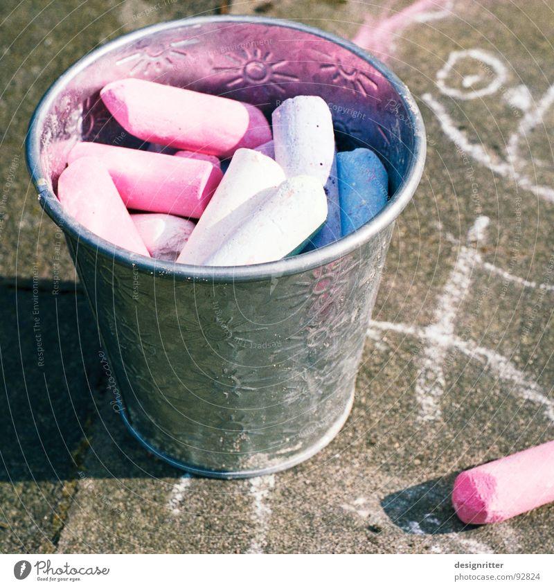 Blue Red Street Colour Lanes & trails Art Painting (action, work) Infancy Sidewalk Chalk Bucket Pastel tone Street painting