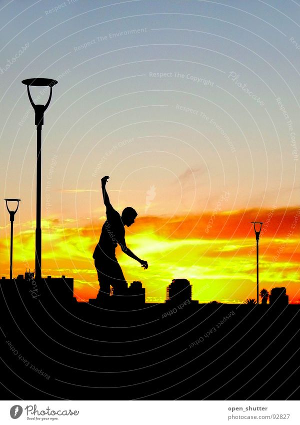 sunset skater Sunset Skateboarding Contentment Playing Summer Cape Town lights Silhouette