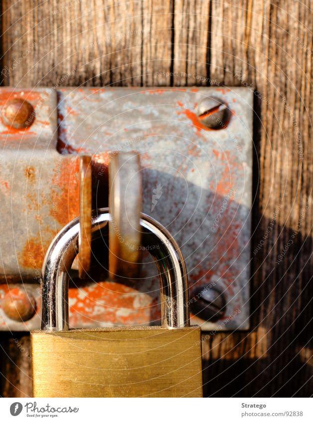 Old Red Wood Fear Door Closed Lock Padlock Castle Rust Key Panic Iron Screw Locking bar Enclosed