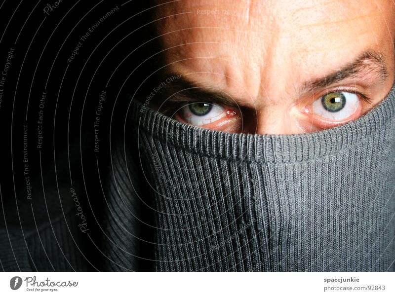 Man Joy Eyes Emotions Crazy Mask Deep Sweater Whimsical Humor Intensive Hypnotic Hypnotizing
