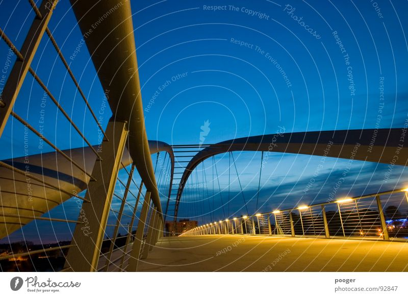dynamic bridge Yellow Swing Basel Bridge Dynamics Evening Sky Blue Handrail Rhine Architecture