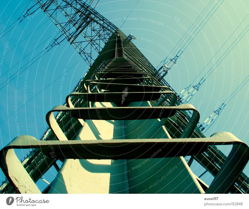 Sky Metal Tall Industry Stairs Electricity Cable Climbing Ladder Electricity pylon Vertigo Unafraid of heights Power transmission