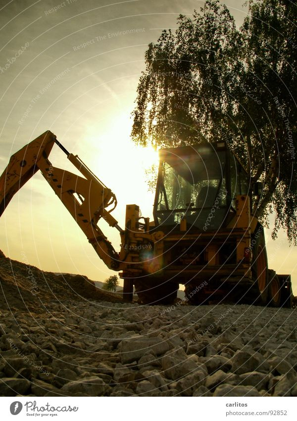 Men's toys in romantic Excavator Construction site Roadblock Diversion Road construction Construction worker Fellow Sunrise Back-light Dazzle Worm's-eye view