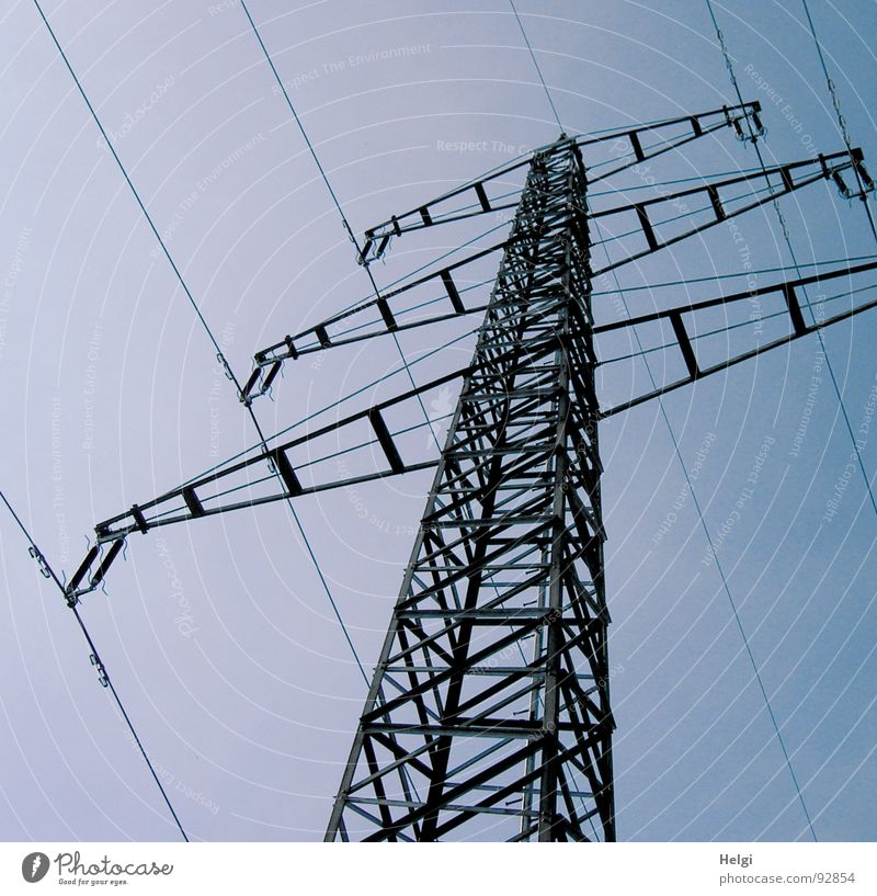 high-tension Colour photo Subdued colour Exterior shot Deserted Neutral Background Day Silhouette Worm's-eye view Industry Energy industry Cable Technology