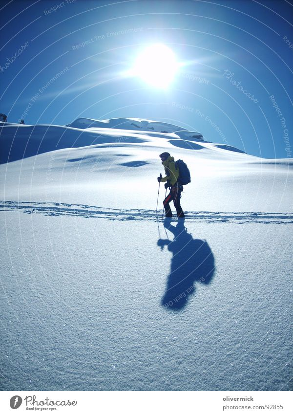 sun snow and more... Powder snow Shadow play Snow track Ski tour Mountaineering Moody Skier Sports Playing Sun light/dark Winter sports
