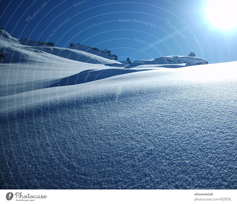 Sun Winter Snow Mountain Moody Blue sky Deep snow Powder snow Snow crystal Winter mood
