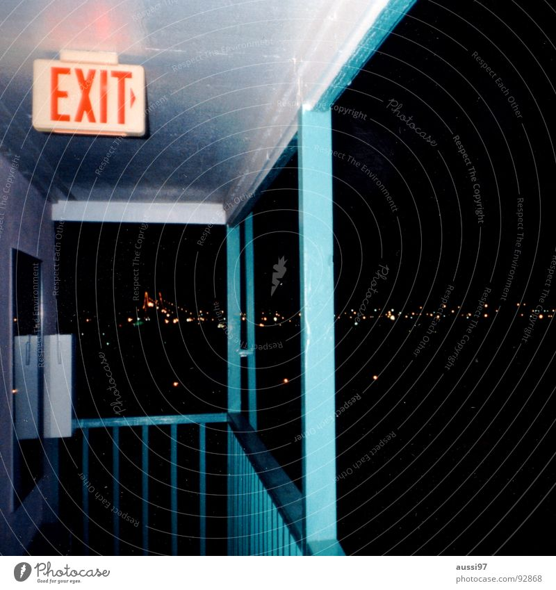 Exit Albuquerque Motel Way out Loneliness New Mexico Soul Break Light blue USA Signage exit Night over the city Highway Crazy overnight Heat of the night Street