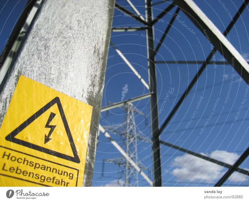 Sky Yellow Power Metal Signs and labeling Industry Energy industry Electricity Dangerous Technology Cable Threat Steel Electricity pylon Respect Warning label