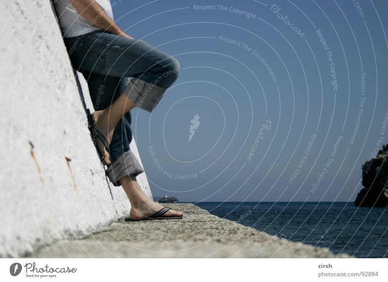 Ocean Summer Vacation & Travel Far-off places Relaxation Horizon Jeans Harbour Longing To enjoy Boredom Beautiful weather Flip-flops