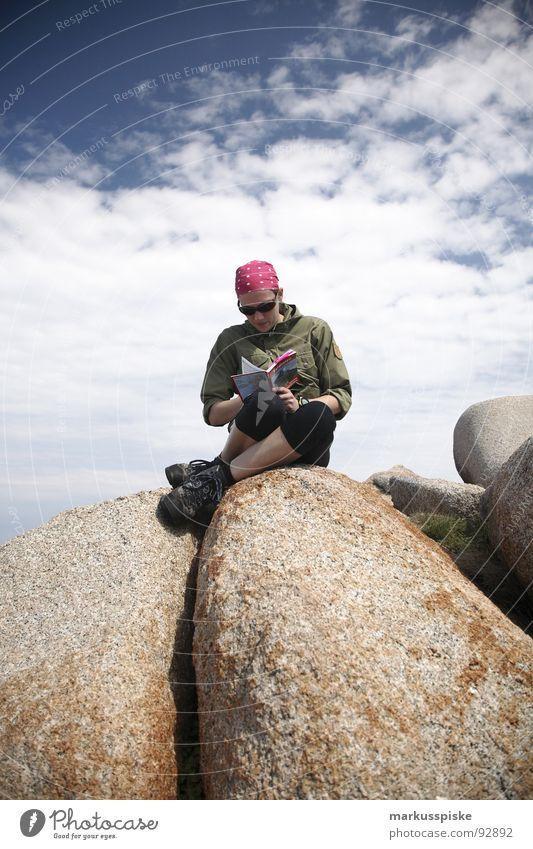 summiteers Peak Reading Hiking Mountaineering Clouds Woman Headscarf Hiking boots Top Rock Sky climbing