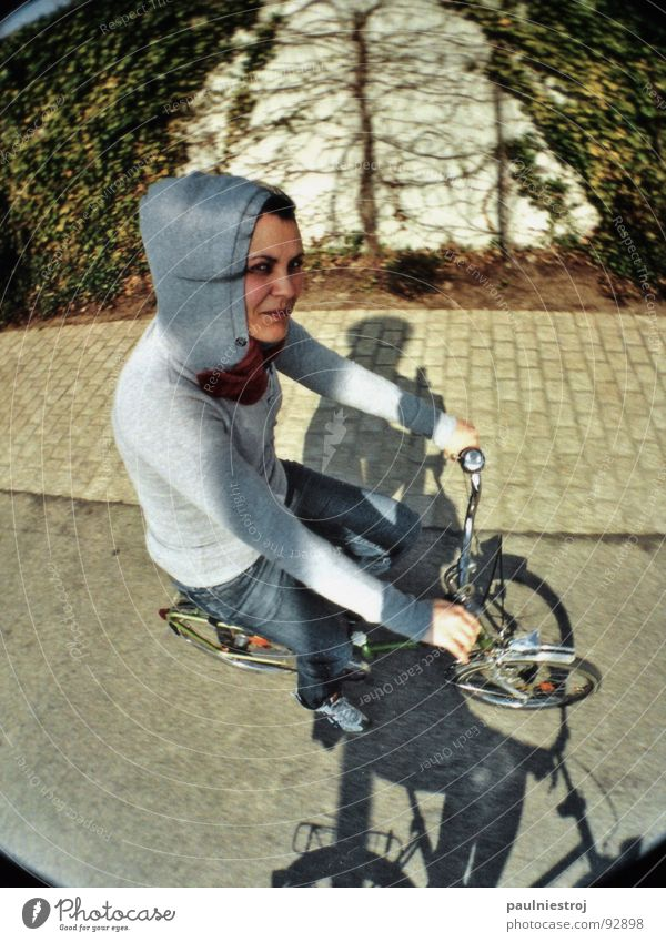 You have a nice bike! Folding bicycle Fisheye Bicycle bell In transit Speed Black Asphalt Hand Bird's-eye view Cycling Hooded (clothing) Lomography Joy Street