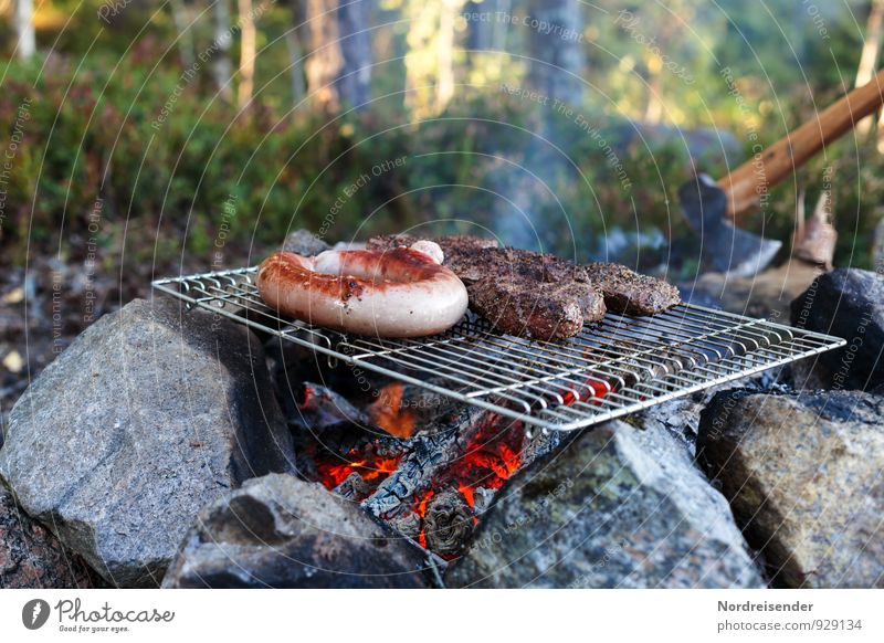 outdoor Food Meat Sausage Picnic Organic produce Adventure Freedom Camping Summer Forest Eating Delicious Vacation & Travel Bratwurst Barbecue (event) Grill