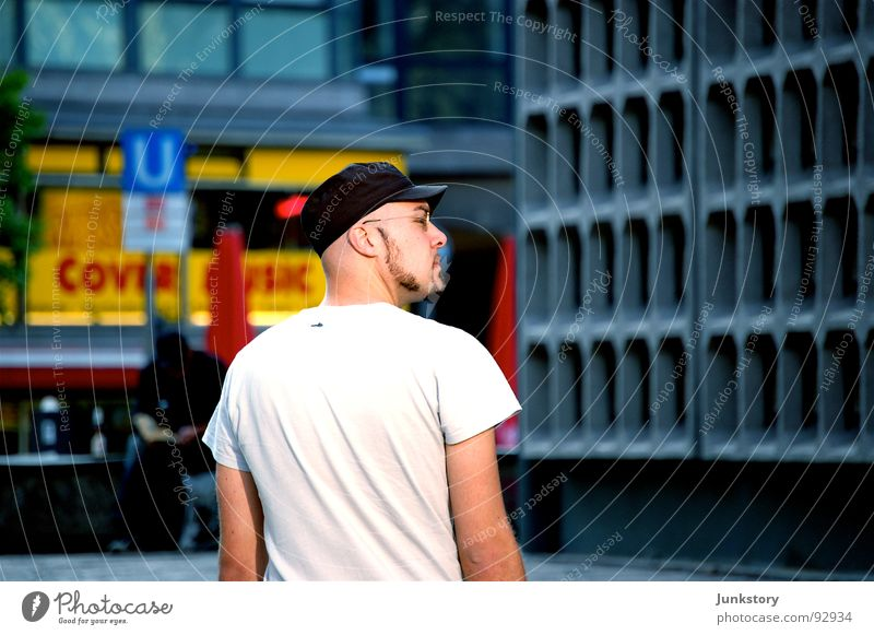 Human being Man White Blue Summer Loneliness Yellow Berlin Gray Art Skin Search Concrete T-shirt Eyeglasses Culture