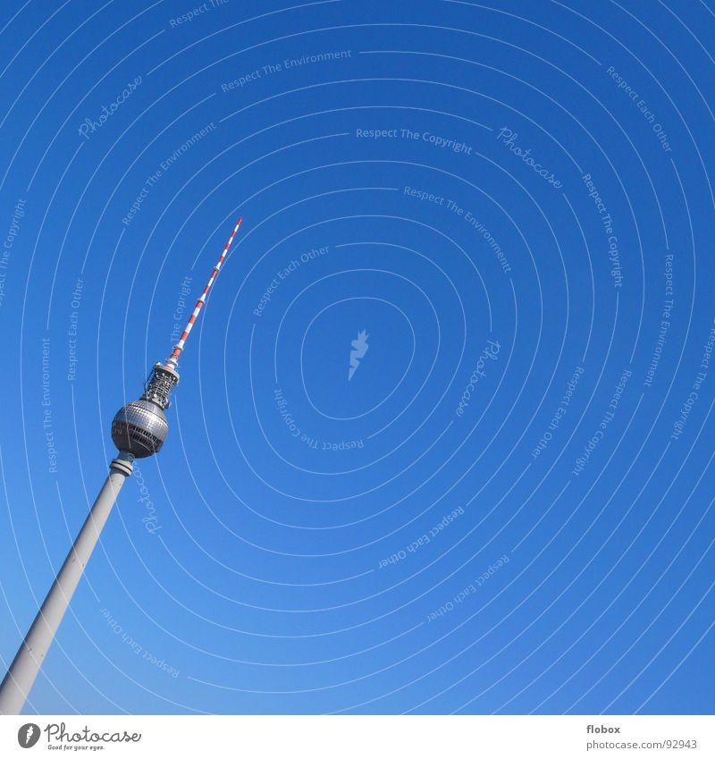 steep tooth Berlin TV Tower Transmitting station Alexanderplatz Antenna Television Landmark GDR Germany Beautiful Sky Summer Soviet zone Broacaster