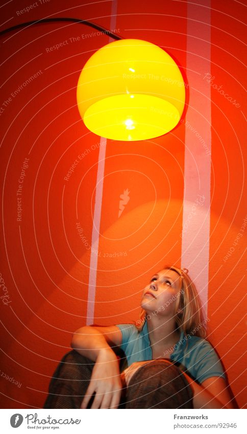 Woman Beautiful Yellow Lamp Wall (building) Above Think Warmth Lighting Blonde Flat (apartment) Search Sit Hope Future Physics