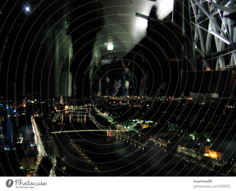 Human being Sky City Black Dark Moody Lighting Bridge River Vantage point Village Exceptional Event Frankfurt Bizarre