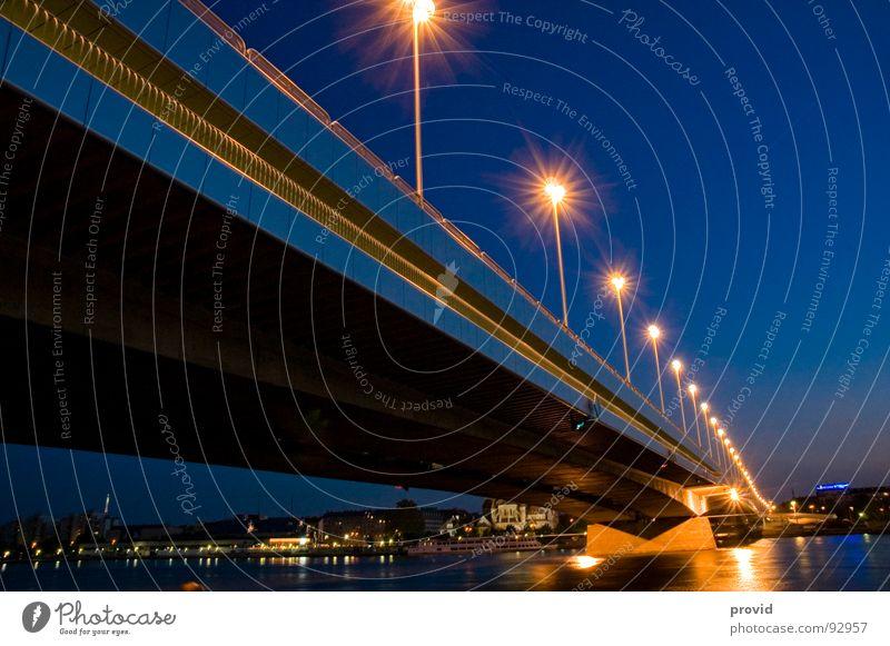 Reichsbrücke_1 Vienna Night Austria Lantern Bridge reichsbrücke Danube Water