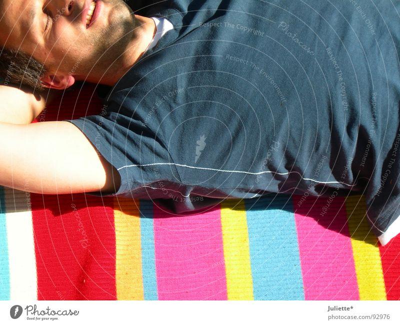 Man Blue Summer Joy Colour Relaxation Laughter Lighting T-shirt Lie Striped