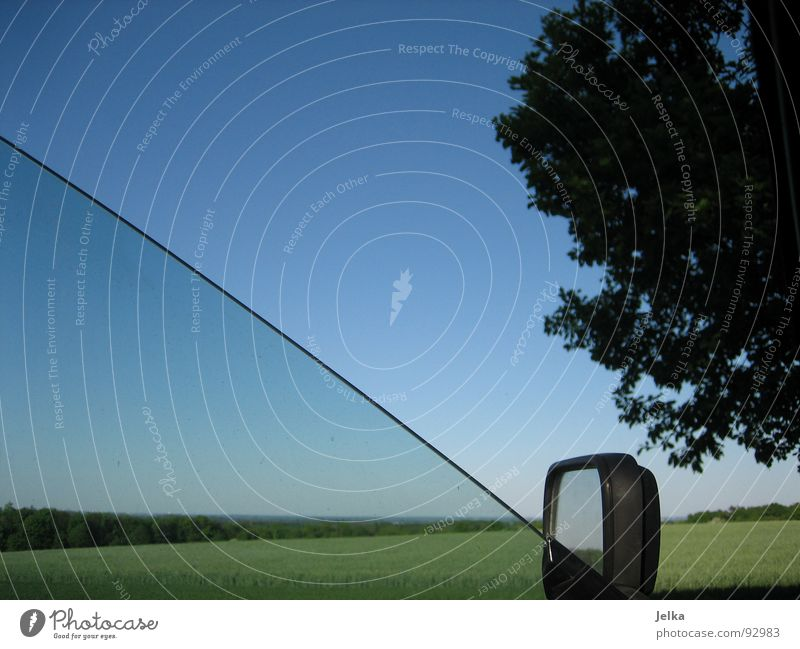 the total view Sky Cloudless sky Tree Meadow Field Motoring Car Blue Green Carriage Rear view mirror Blue sky Clear sky Car Window Open Section of image