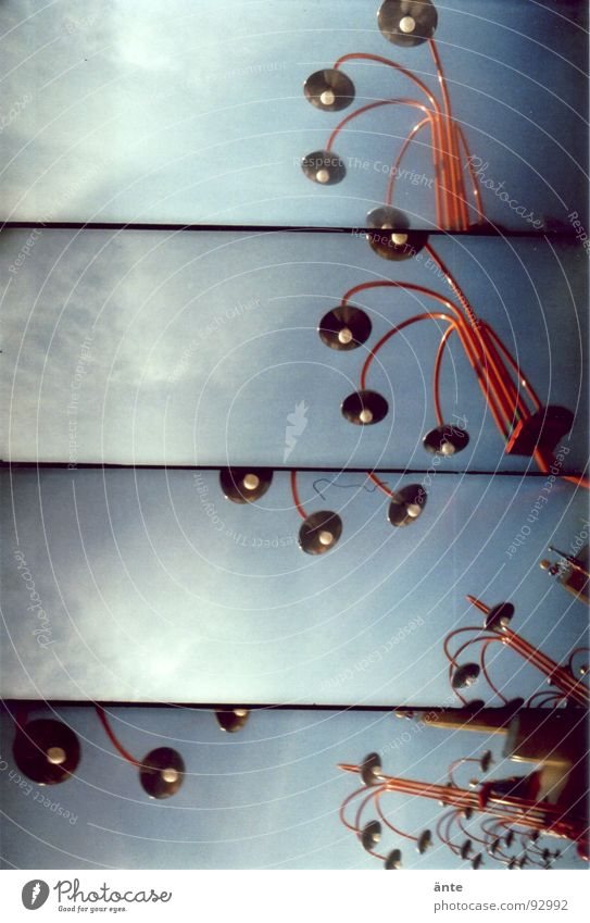 peep up Lamp Lomography Looking Branched Street lighting Light Muddled Composing Coincidence Red rhinestone lamp supersampler cirrostratus clouds Blue