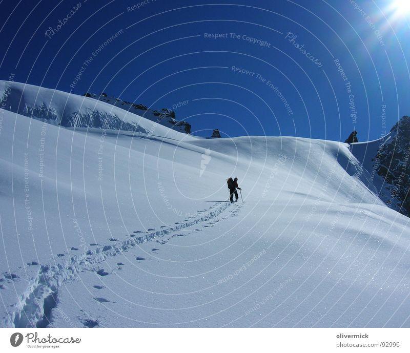 Sun Winter Loneliness Snow Moody Tracks Blue sky Skier Winter sports Mountaineer Ski tour Deep snow Powder snow Snow crystal Snow track Winter mood