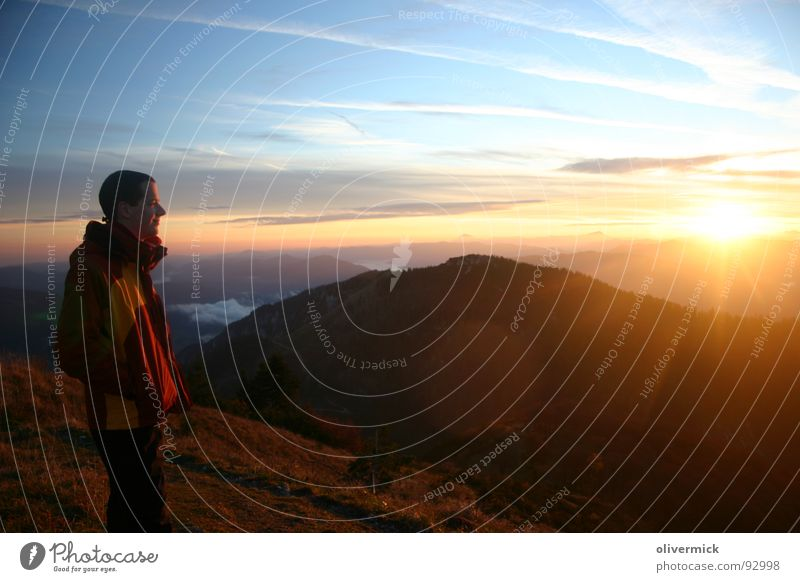 ray of hope Moody Hiking Sunset Celestial bodies and the universe Sky Mountain sunset at the mountain To enjoy Multicoloured