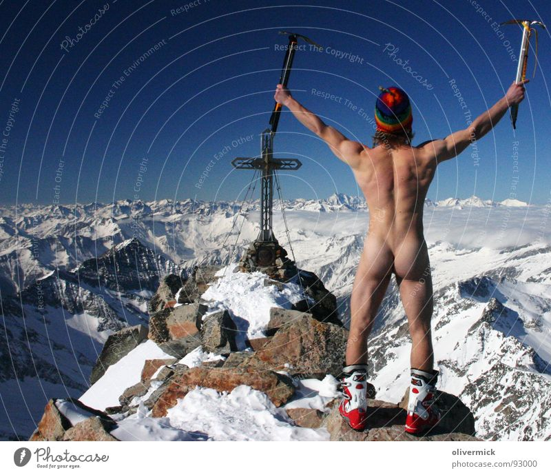 liberated at the top ( or: pants down, ....) Peak Mountaineer Naked Peak cross Moody Grossglockner Skier Ski tour Winter Winter sports Nude photography Blue sky