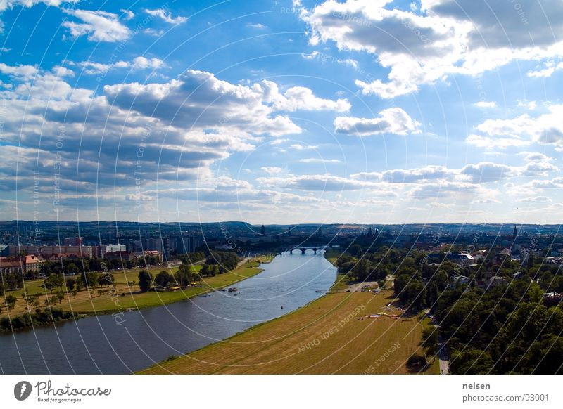 Sky Clouds Freedom Aviation River Dresden Elbe Paragliding Paraglider
