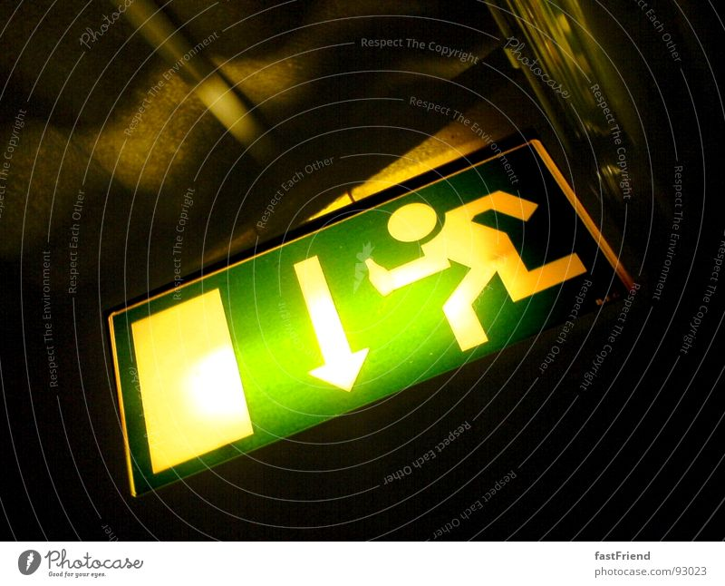 Green Dark Bright Fear Door Signs and labeling Hope Illuminate Arrow Pipe Direction Warning label Panic Thirst Way out Haste