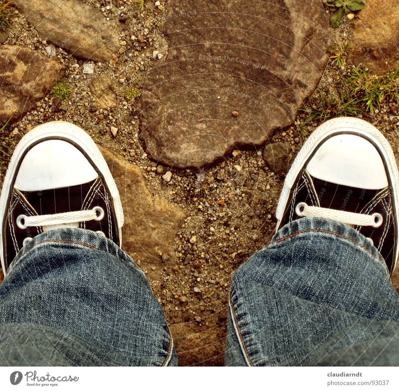 on foot Footwear Going Chucks Iconic Stand Hiking Shoelace 2 Mainstay Perspective Downward Bird's-eye view Symmetry Simple Clothing Feet Jeans