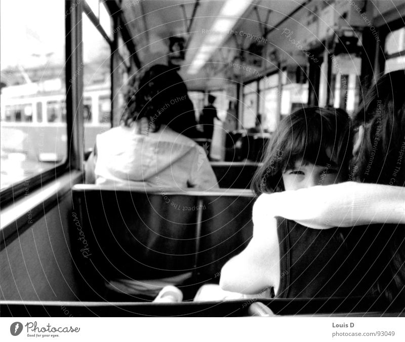 GIRL Tram Girl Mother Grief Black & white photo Zurich Sadness Tears Hide