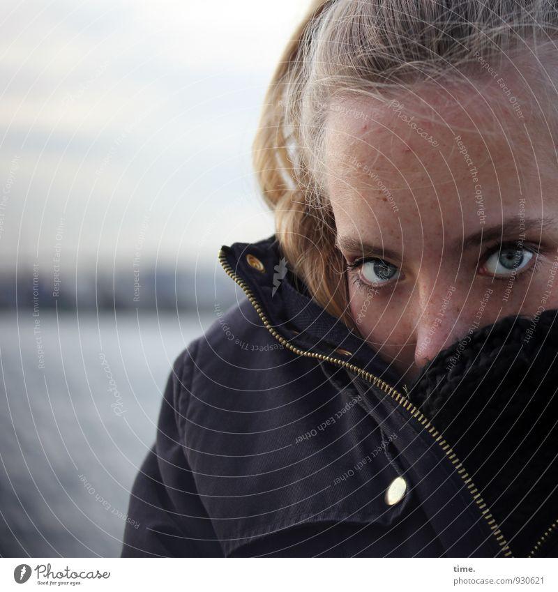 Human being Sky Youth (Young adults) Beautiful Young woman Eyes Feminine Horizon Fear Blonde Wait Observe Threat Protection Harbour Jacket