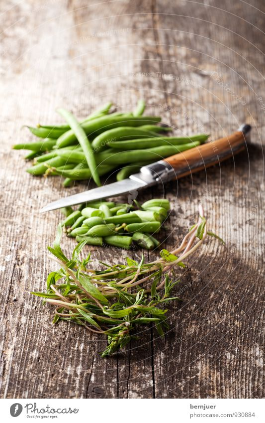 snippets Food Vegetable Organic produce Vegetarian diet Cheap Good Beans Raw Knives cut Summer savory Herbs and spices Wooden board Rustic Deserted Green